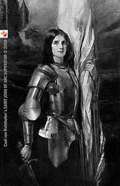 Joan of Arc - You have heard Her Name, Do you really know Her Story? Book Engraving Portrait of Joan of Arc standing with sword and banner from 1912 book France of Joan of Arc by Andrew C. Joan D Arc, Saint Joan Of Arc, St Joan, Catholic Saints, Patron Saints, Roman Catholic, Pierre Curie, Marilyn Monroe Poster, Jeanne D'arc