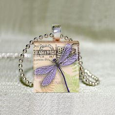 Scrabble Jewelry  Dragonfly Lavender on by MaDGreenCreations, $7.49