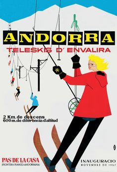 1957 Ski Poster for the Andorran Ski Area El Pas de la Casa.