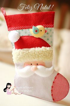 Felt Santa stocking (with sewing pattern) // Mikulás csizma - zokni filcből (szabásmintával) // Mindy - craft tutorial collection // Christmas Sewing, Noel Christmas, All Things Christmas, Christmas Projects, Felt Crafts, Holiday Crafts, Felt Christmas Decorations, Christmas Ornaments, Santa Stocking