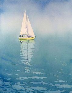 Sail Boat Painting - Watercolor Painting Prints - Sailboats Paintings Boats Nautical Ocean Switzerland Aqua Blue Lemon Zest - 12 x about 16 Nautical Artwork, Ocean Artwork, Nautical Prints, Sailboat Art, Sailboat Painting, Sailboat Drawing, Nautical Painting, Lake Painting, Seascape Paintings