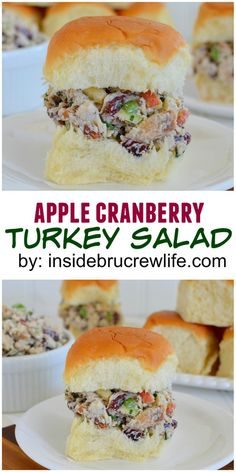 Apples and cranberries  make this a delicious way to use up that leftover turkey! Cracker, Thanksgiving Turkey, Thanksgiving Recipes, Holiday Recipes, Turkey Salad Sandwich, Soup And Sandwich, Sandwich Recipes, Sandwich Ideas, Turkey Leftovers
