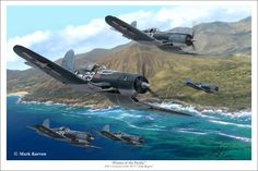 A selection of fine aviation art prints from the studios of Mark Karvon featuring aircraft of World War II. Ww2 Aircraft, Fighter Aircraft, Military Aircraft, Fighter Jets, Aircraft Painting, Airplane Art, Ww2 Planes, Jolly Roger, Aircraft Pictures