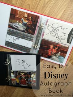 How to make a personalized Disney autograph book that can be made in minutes and is EASY for the kids to use! Simple DIY along with Disneyland tips with Toddlers