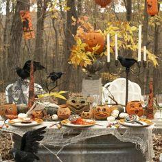 outside halloween table