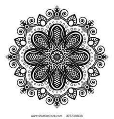 Black tattoo mandala on white background in Indian henna mehndi style.