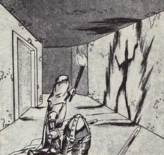 """""""The door to this room is scorched, as is the end of the corridor. The outline of a man-sized humanoid form is etched into the scorched wall section."""" (Jim Holloway from D&D module B4: The Lost City, TSR, 1982.)"""