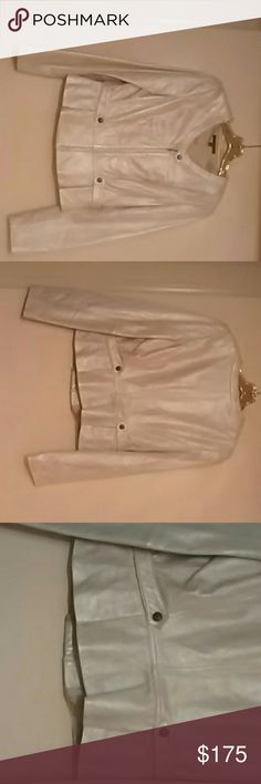 David Meister Leather Jacket size 8 Frosted Genuine Leather Jacket like New David Meister Jackets & Coats Jean Jackets