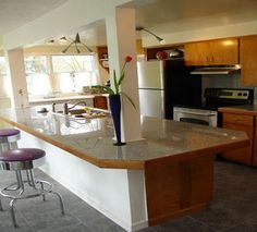 An island type kitchen