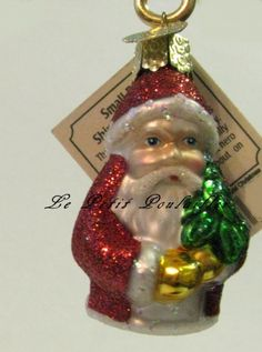 Merck Family Old World Christmas 'Small Red Shimmering Santa'  retired blown glass ornament ... in my shop now!