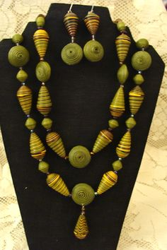 2 olive paper bead necklaces - ME Beads