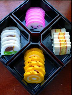 Kamaboko: steamed fish paste. Tasty AND pretty
