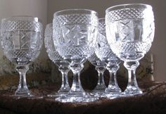 Pressed Glass Goblets, Cottage Set/6, Gift For Her Beautiful, shiny, crisp. ~ Pressed glass goblets, set 6. ~ Pretty criss-cross glass pattern. ~ Scalloped base.