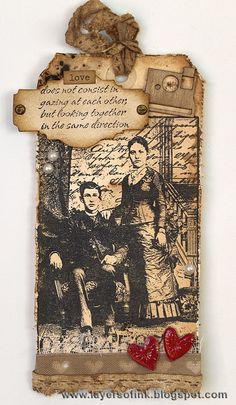 Layers of ink: Henry & Harriet Tag, made with Darkroom Door Henry & Harriet collage stamp, Sizzix Mini Labels and Flower & Heart dies, and walnut ink crystals.