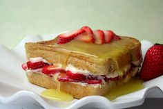 Strawberry Cream Cheese Stuffed French Toast with Lemon Syrup