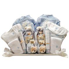 CANASTILLA AJUAR GEMELOS. Cestas para gemelos, mellizos, trillizos. Canastillas para bebés y recién nacidos.