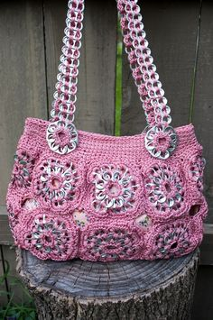 Upcycled Rose Crochet Pop Tab Purse. $70.00, via Etsy.