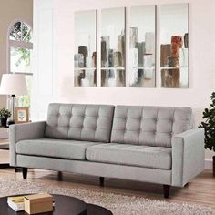 Modway Empress Mid-Century Modern Upholstered Fabric Sofa In Light Gray Sofa Couch, Upholstered Sofa, Sofa Set, Chair Slipcovers, Lounge Sofa, Sofa Come Bed, Cool Couches, Sofa Inspiration, Modern Couch