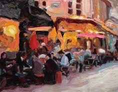 Richard Claremont #Art - Cafe at Marais - #Cityscape #Oil #Paintings for Sale