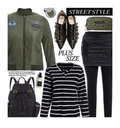 """""""Street Style (plus size)"""" by beebeely-look ❤ liked on Polyvore featuring Petunia Pickle Bottom, Burberry, Gucci, Urban Decay, stripes, plussize, StreetSyle, plussizefashion and twinkledeals"""