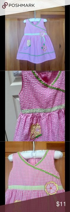 Miss Lana originals Pink Seersucker Gingham Dress Darling Miss Lana originals Pink and White Seersucker Gingham Checked dress. Perfect for summer parties. HAs cute Embroidered butterfly and flower details , with green rick rack trim. EUC, Made in Philippines quality and workmanship, the best in classic children's clothes. Miss Lana Dresses Casual