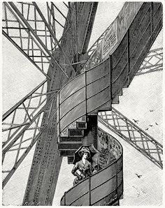 A staircase on the Eiffel tower.  From L'exposition universelle de 1889 (The 1889 Paris world fair) vol. 1, by Émile Monod, Paris, 1890.    (Source: archive.org)