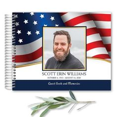 Funeral guest book with an American Flag motif celebrating your loved one with a photo and custom poetry additions- making this the perfect commemorative for your loved and celebrating their life well lived. This is an 8.5 x 11 guest book.