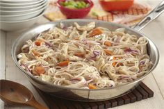 Plate our Pancit Noodles with Chicken for a delicious entrée this evening. Tender rice noodles are the key ingredient in our Pancit Noodles with Chicken recipe, which includes chopped veggies and a tasty coleslaw blend. Pancit Noodles, Rice Noodles, Chicken Noodle Recipes, Chicken Meals, Chicken Pasta, Italian Sausage Soup, Italian Chicken, Asian Recipes, Ethnic Recipes