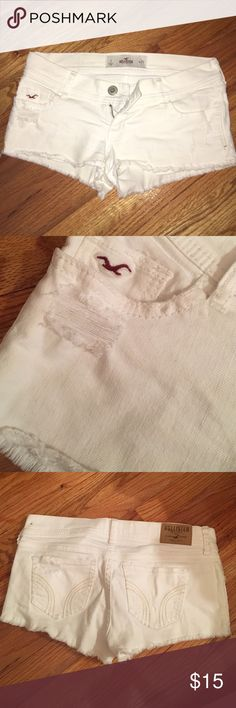 hollister shorts white distressed hollister shorts. size 1, w 25. perfect condition Hollister Shorts Jean Shorts