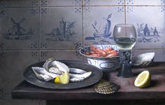 'Delft Tiles' by Brian Davies Oil on Canvas: 14 x 12 in Signed Delft Tiles, French Art, Oil On Canvas, Fine Art, Contemporary, Seafood, British, Painting, French Artwork