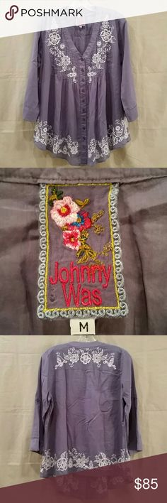 """Really Nice Johnny Was Ladies Shirt Size M Gorgeous  Bohemian style shirt that features embroidered flower pattern on the front and back. The shirt is in excellent pre-owned condition.  Measurements:  Shoulder to hem - 19"""" Length - 30"""" Shoulder to shoulder - 16""""  Comes from a pet/smoke free home.  Thanks for looking. Johnny Was Tops Blouses"""