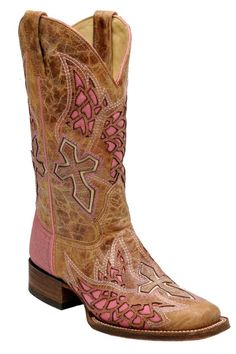Corral Boots Women's Pink Wing & Cross Square Toe Cowgirl Boots
