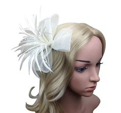 Chrysanthemum Style Flower Fascinator With Feather on clip and brooch (Ivory)