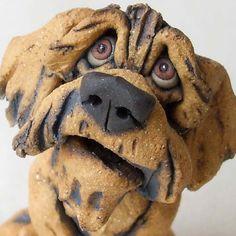 Doodle Dog on Big Bone Whimsical Ceramic Sculpture