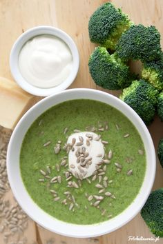 Cream of broccoli soup with parmesan cheese