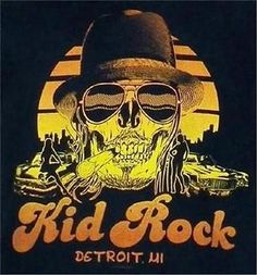 American Apparel Made in the USA 2013 Kid Rock Skull Detroit BlackTank Top Large