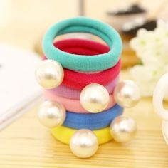 Big Simulated Pearl Pendant 6 Colors Elastic Hair Rubber Bands Girls Headbands Headwear Hair Accessories for Women