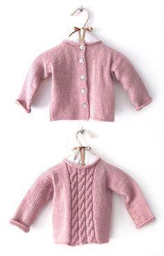 Cómo hacer un suéter para bebé de dos agujas - DIY - Punto a dos agujas - Baby Girl Dress Patterns, Baby Clothes Patterns, Baby Patterns, Knitting For Kids, Crochet For Kids, Baby Knitting, Knitted Baby Cardigan, Knit Baby Sweaters, Brei Baby