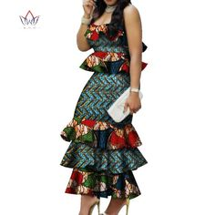 Fashion Multilayer Draped Print Top & Skirt Sets Bazin Riche African Wax Dresses for Women 2 Pieces Skirts Sets Clothing WY2767