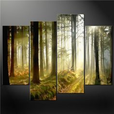 Wall Paintings  - Pin it :-) Follow us, CLICK IMAGE TWICE for Pricing and Info . SEE A LARGER SELECTION of wall paintings at http://azgiftideas.com/product-category/wall-paintings/  - gift ideas, house warming gift ideas, home decor -  4 Piece Wall Art Painting Pictures Print On Canvas Misty Forest Rays Cascade Modern Design The Picture For Home Modern Decoration Oil