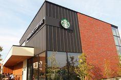 Retail Architecture, Fountain Valley, Facade Design, Building Design, Coffee Shop, Starbucks, Planters, Logos, Outdoor Decor