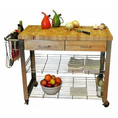 Kitchen-Island-Cart-Home-Rolling-Storage-Chopping-Table-Counter-Wood-Top-Mobile