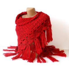 New Red shawlcrochet trendssoftwarmwinter trendspring by seno, $85.00