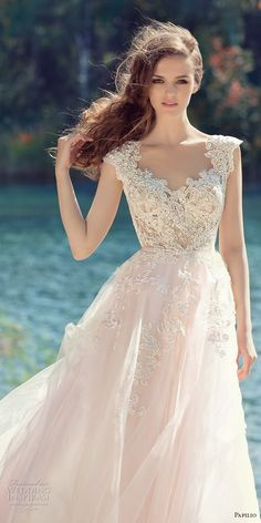 papilio 2017 bridal cap sleeves v neck heavily embellished bodice tulle skirt romantic blush color a  line wedding dress open low v back royal train (hornbill) zv -- Papilio 2017 Wedding Dresses