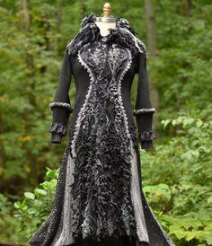 Sweater COAT gray black long corset style boho up door amberstudios