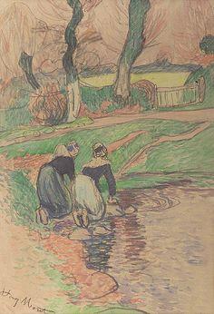 Henry Moret 1856-1913 Women of Brittany aquarelle et fusain 14x9 1/4 in