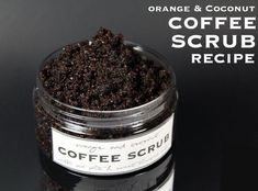 Face Scrub Homemade Exfoliating orange coconut coffee scrub recipe without coconut oil, crafts, how Coconut Oil Sugar Scrub, Sugar Scrub For Face, Coffee Cellulite Scrub, Coffee Face Scrub, Homemade Coffee Scrub, Face Scrub Homemade, Homemade Moisturizer, Sweet Almond Oil, Ground Coffee