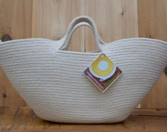 Handcrafted Functional Art by LittleMeadowStudio Sewing Ideas, Sewing Crafts, Sewing Projects, Rope Knots, Rope Basket, Denim Bag, Knitted Bags, Cotton Bag, Handmade Bags