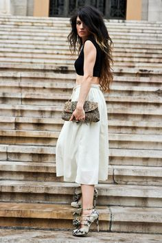 Madame de Rosa in h skirt, asos top, louboutin shoes, mango necklace, accessorize purse.
