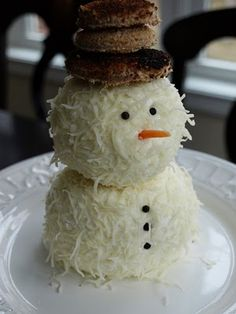 Snow man cheese ball dip